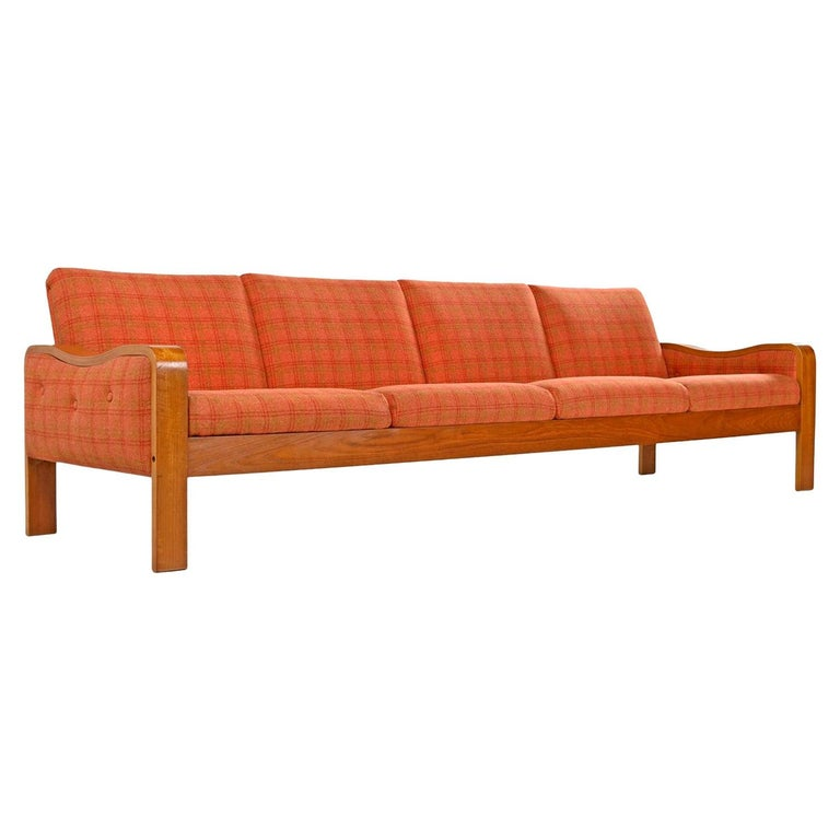 Original Midcentury Bent Teak Plaid Wool Fabric Danish Modern Sofa Couch For Sale