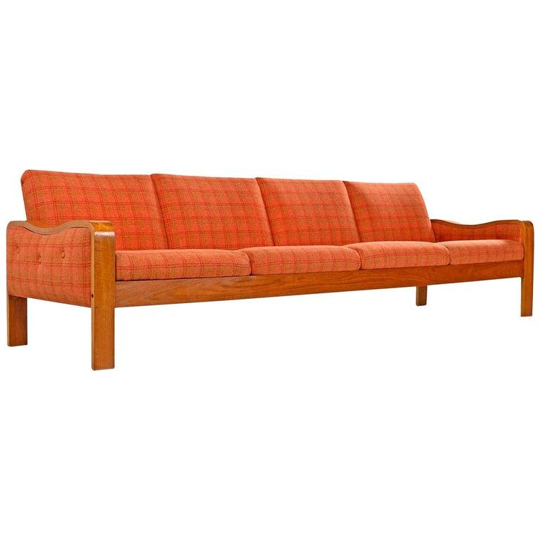 Original Midcentury Bent Teak Plaid Wool Fabric Danish Modern Sofa Couch For Sale