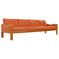 Original Midcentury Bent Teak Plaid Wool Fabric Danish Modern Sofa Couch