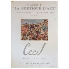 Original Midcentury French Art Exhibit Poster Works by Cecil, 1966