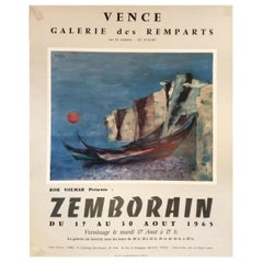 Original Midcentury French Art Exhibit Poster by Zemborain, dated 1965