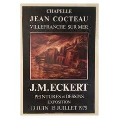 Original Midcentury Landscape Art Poster Signed by John Michael Eckert