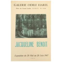 Original Midcentury Jacqueline Benoit Art Exhibition Poster, 1967