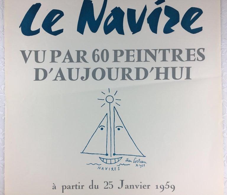 Mid-Century Modern Original Midcentury Jean Cocteau Art Exhibition Poster, Dated 1959 For Sale