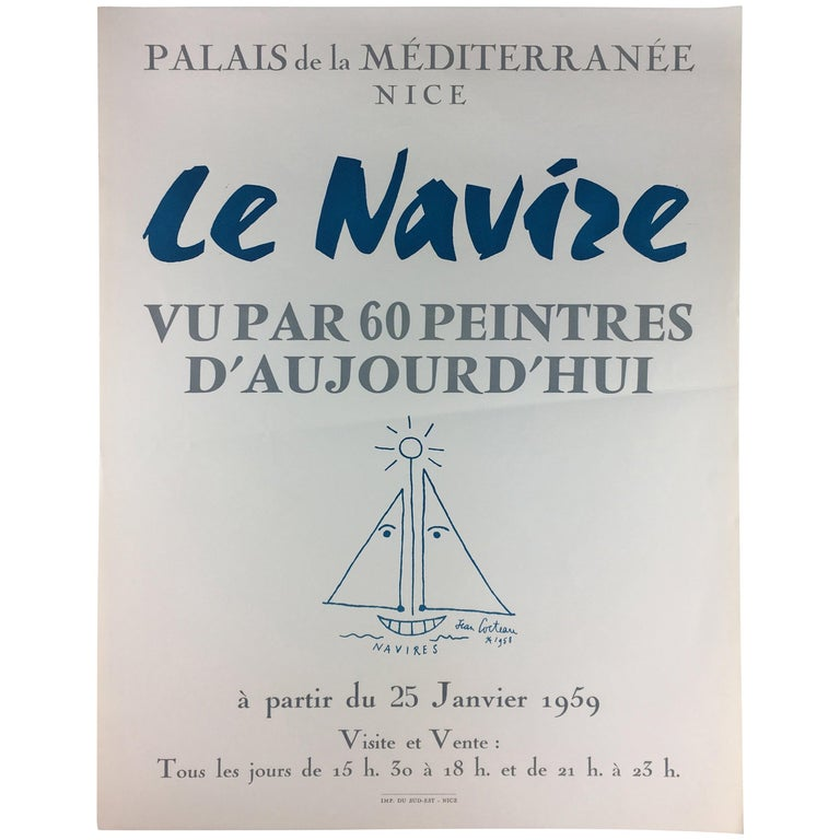 Original Midcentury Jean Cocteau Art Exhibition Poster, Dated 1959 For Sale