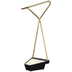 Original Midcentury Metal Brass Modernist Bauhaus Umbrella Stand, Germany, 1950s