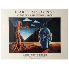 Original Mid-Century Karl Fey-Rouger Surrealist Art Exhibition Poster, 1975