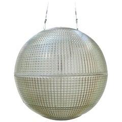 Original Midcentury Parisian Holophane Glass Globe Pendant