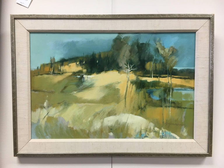 A wonderful gouache on canvas by the noted American artist Paul W. Zimmerman. Medium is oil on canvas, circa 1950s. Biography: Paul Zimmerman was an internationally known artist and Professor Emeritus of the Hartford Art School. Born in Toledo, OH,