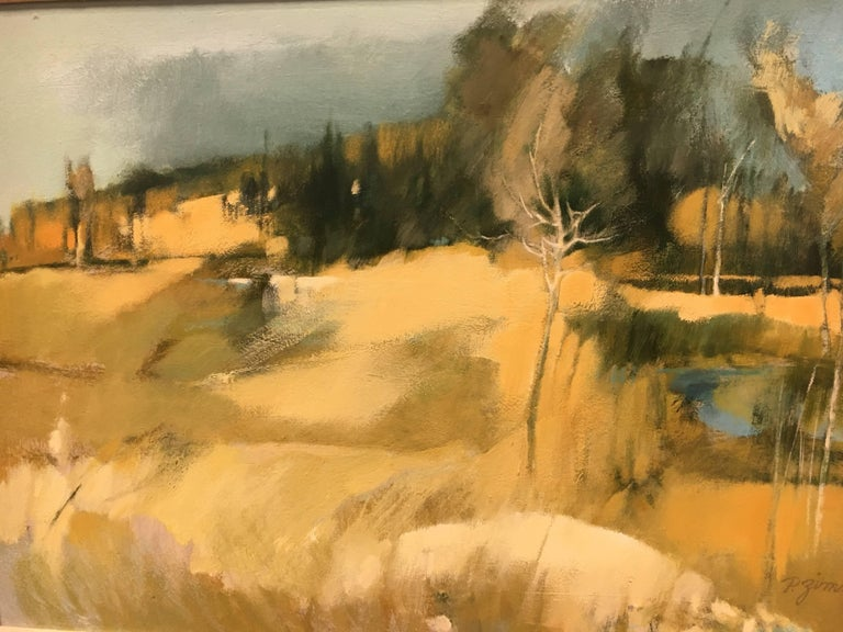 Original Midcentury Paul Zimmerman Signed Abstract Gouache Painting In Excellent Condition For Sale In West Hartford, CT