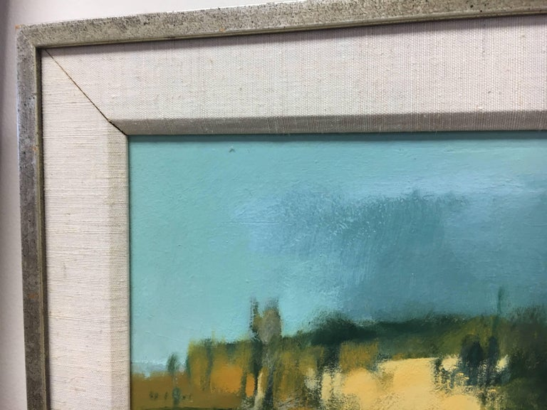 Canvas Original Midcentury Paul Zimmerman Signed Abstract Gouache Painting For Sale
