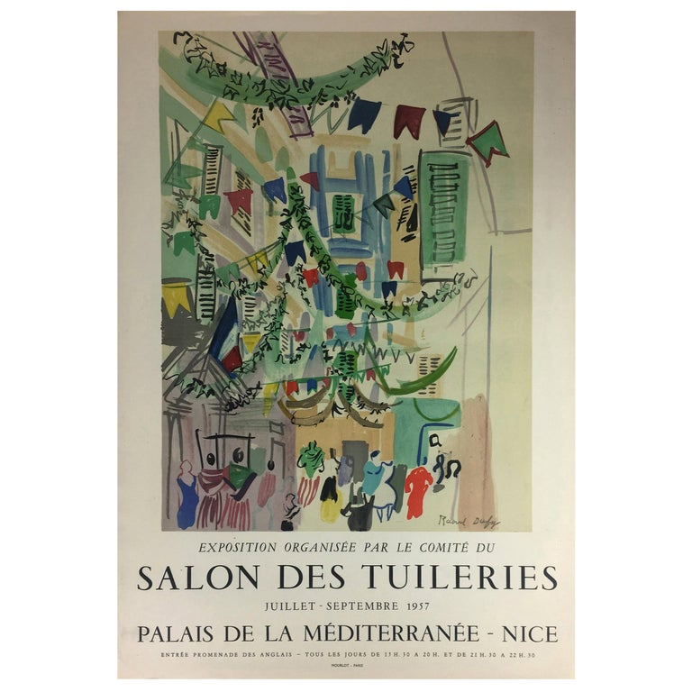 Original Midcentury Raoul Dufy Mourlot Art Poster, circa 1957 For Sale