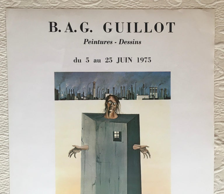 Mid-Century Modern Original Midcentury Surrealist Art Exhibition Poster, B.A.G. Guillot For Sale