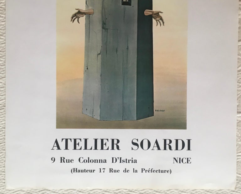French Original Midcentury Surrealist Art Exhibition Poster, B.A.G. Guillot For Sale