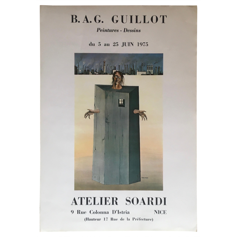 Original Midcentury Surrealist Art Exhibition Poster, B.A.G. Guillot