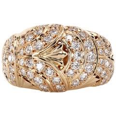 Original Mikimoto Never-Worn 18 Karat Gold Imperial Ring with Diamonds