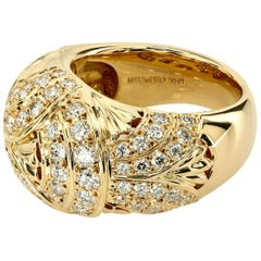 Original Mikimoto Never-Worn 18 Karat Gold Imperial Ring with Diamonds