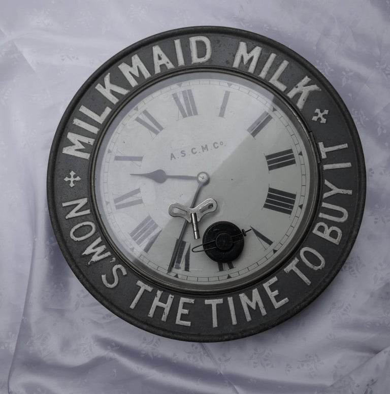Original Mikmaid Milk Advertising Clock From 1890 By The
