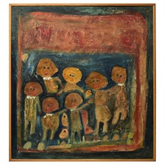 Original Mixed-Media Painting on Copper Abstract Children /Chickens Vetere Italy