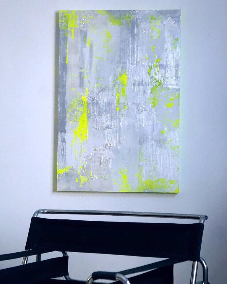 """Chartreuse Verseau"" is an original, one of a kind acrylic, silver leaf and pearl dust painting on wood by American Artist, Chanel Verdult. Sure to create dramatic ambiance in any room, ""Chartreuse Verseau"" features bold shades of chartreuse green"