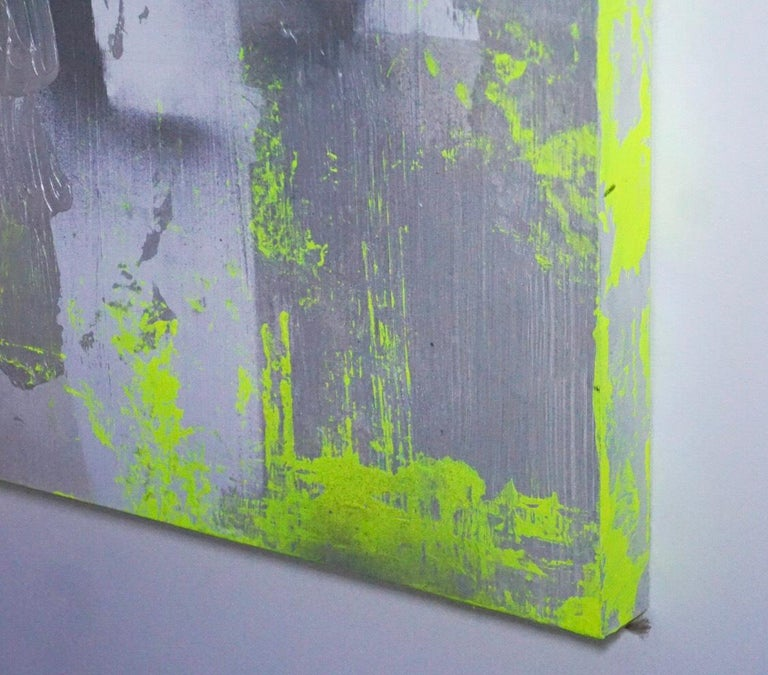 "American Original Modern Abstract Painting ""Chartreuse Verseau"" by Artist Chanel Verdult For Sale"