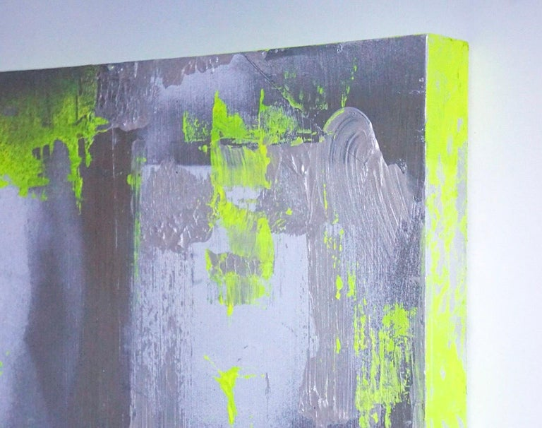 "Hand-Painted Original Modern Abstract Painting ""Chartreuse Verseau"" by Artist Chanel Verdult For Sale"