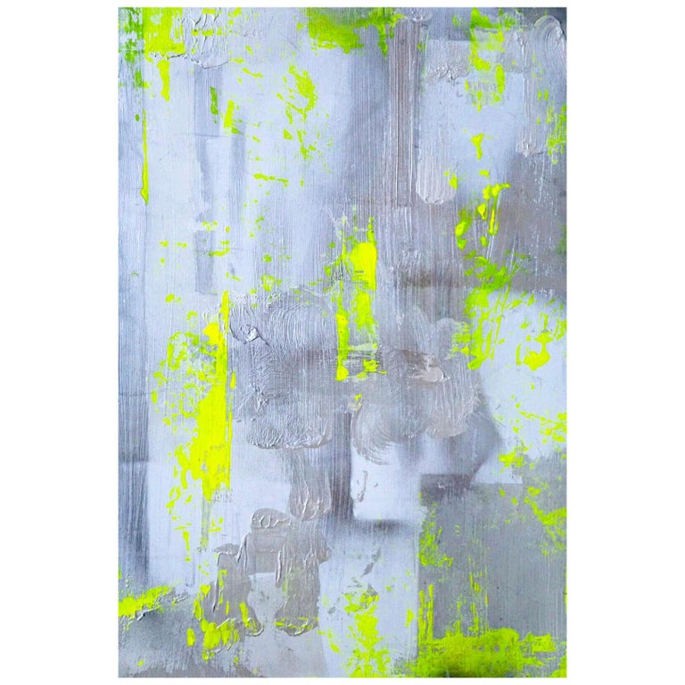 "Original Modern Abstract Painting ""Chartreuse Verseau"" by Artist Chanel Verdult For Sale"