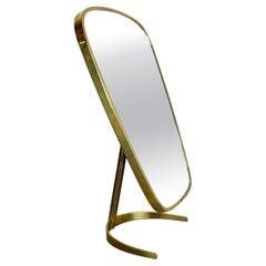 Original Modern Brass Table Mirror Vereinigte Werkstätten Munich, Germany 1950s