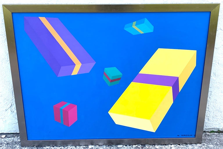 Original Modern Oil Painting, Geometry Study, M. Vondrak, 1971 For Sale 3