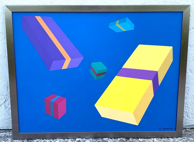 Original modern oil painting, geometry study, M. Vondrak, 1971 Signed lower right M. Vondrak, '71 Measures: Oil on canvas 36