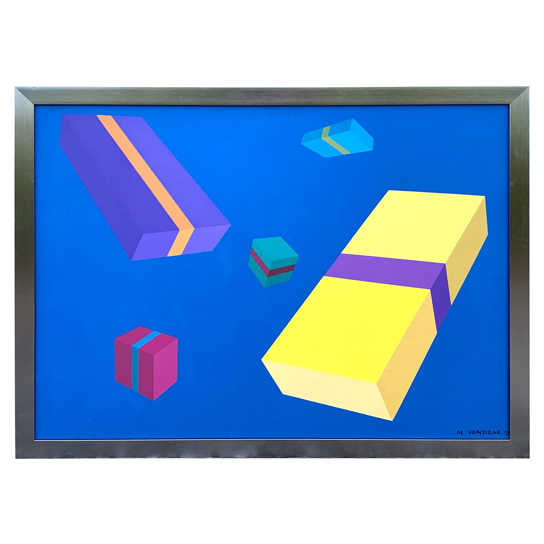 Original Modern Oil Painting, Geometry Study, M. Vondrak, 1971