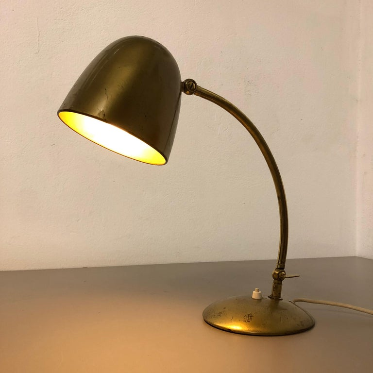 Original Modernist Brass Metal Table Light Made by Cosack Attributed, Germany For Sale 15