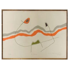 Original Modernist Abstract Lithograph The Waves Les Ondes, Style MIRO