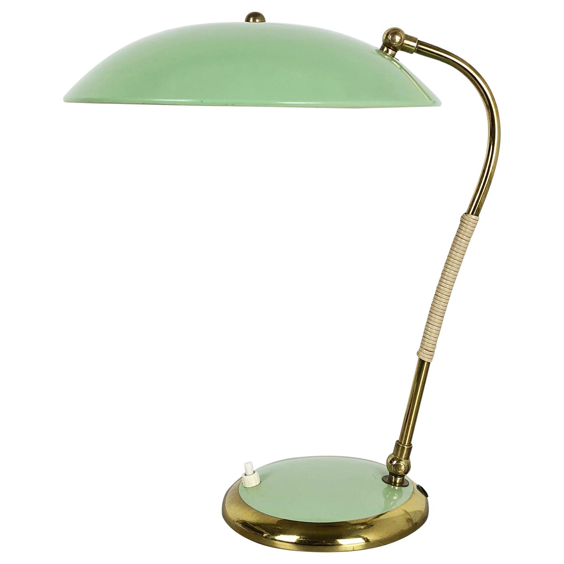 Original Modernist Brass Metal Table Light Made by Helo Lights, Germany, 1960s