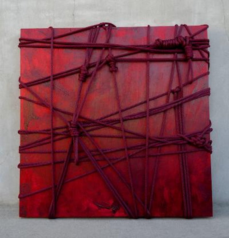 """Canvas Original """"Momijigari"""" Modern Sculptural Relief Painting by Artist Chanel Verdult For Sale"""