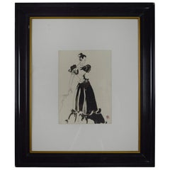 Original Monochrome Fashion Drawing, Pat Kerr, 1946