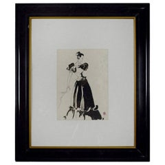 Original Monochrome Fashion Drawing, Pat Kerr, 1946