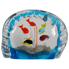 Original Murano Hand Blown Italian Art Glass Aquarium Fish Bowl Paperweight