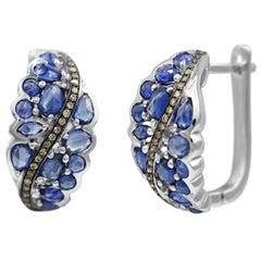 Original Natkina Blue Sapphire Diamond Lever-Back Earrings for Her