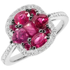 Original Natkina Red Ruby Diamond Romantic Gift Ring for Her