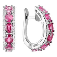 Original Natkina Red Ruby Pink Sapphire Diamond Lever-Back Earrings for Her