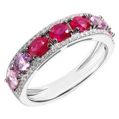 Original Natkina Red Ruby Pink Sapphire Diamond White Gold Ring Her