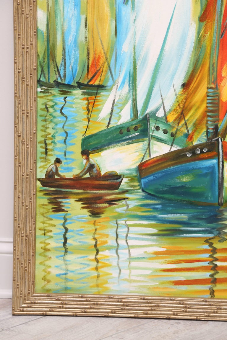 Colorful original oil painting of multiple sail boats.