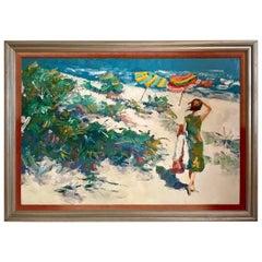 Original Nicola Simbari Oil Painting of Figure in Mediterranean Landscape