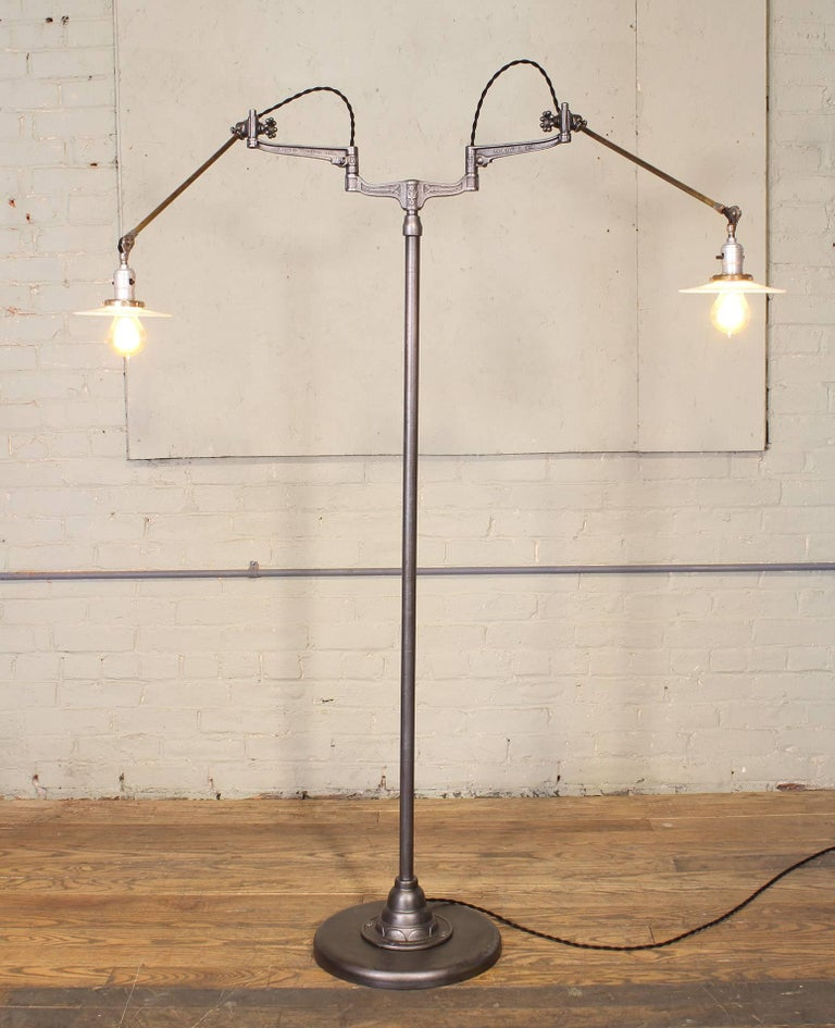 Original O.C. White Articulating Two-Arm Floor Lamp For Sale 8