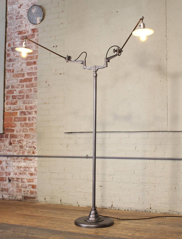 Industrial Original O.C. White Articulating Two-Arm Floor Lamp For Sale