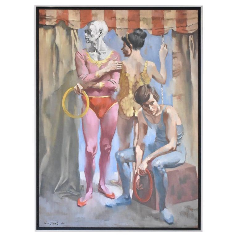 "Original Oil on Canvas Artist Adam Grant Circus ""Juggling Family"" 1979 For Sale"