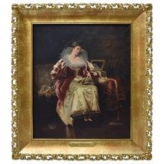 Original Oil on Canvas by Manuel Mendez Spanish Artist Lady Doing Needlepoint