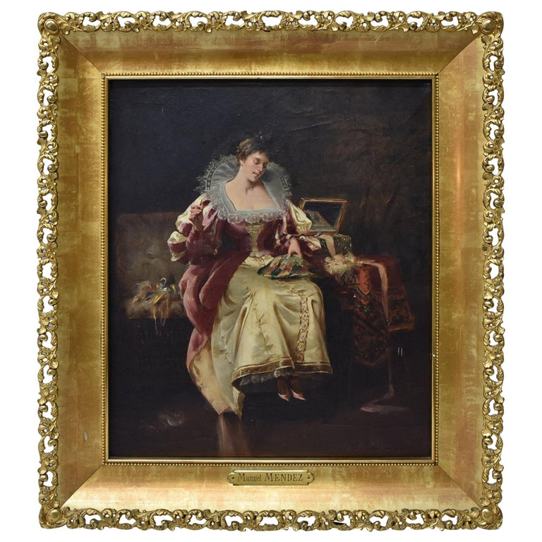 Original Oil on Canvas by Manuel Mendez Spanish Artist Lady Doing Needlepoint For Sale