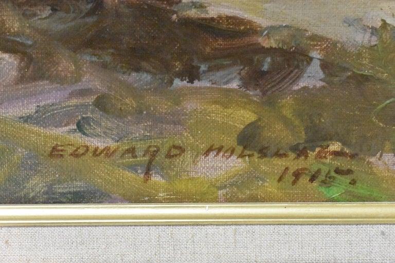 American Original Oil On Canvas California Artist Edward Holslag Landscape Countryside For Sale